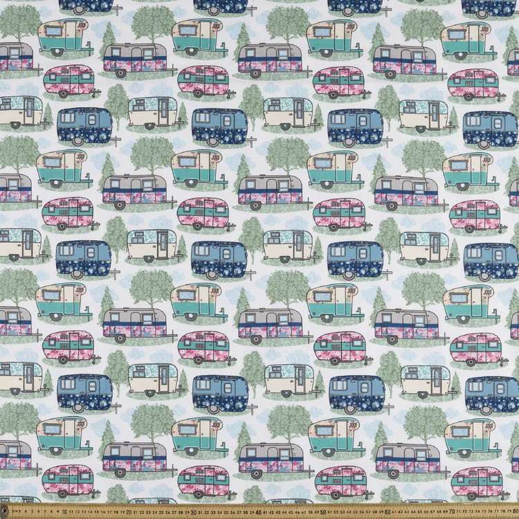Caravans Printed Flannelette Fabric