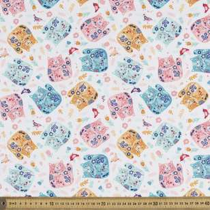 Cats Printed Flannelette Fabric