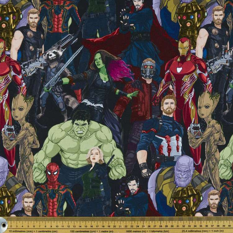 Avengers Infinity War Allover Cotton Fabric