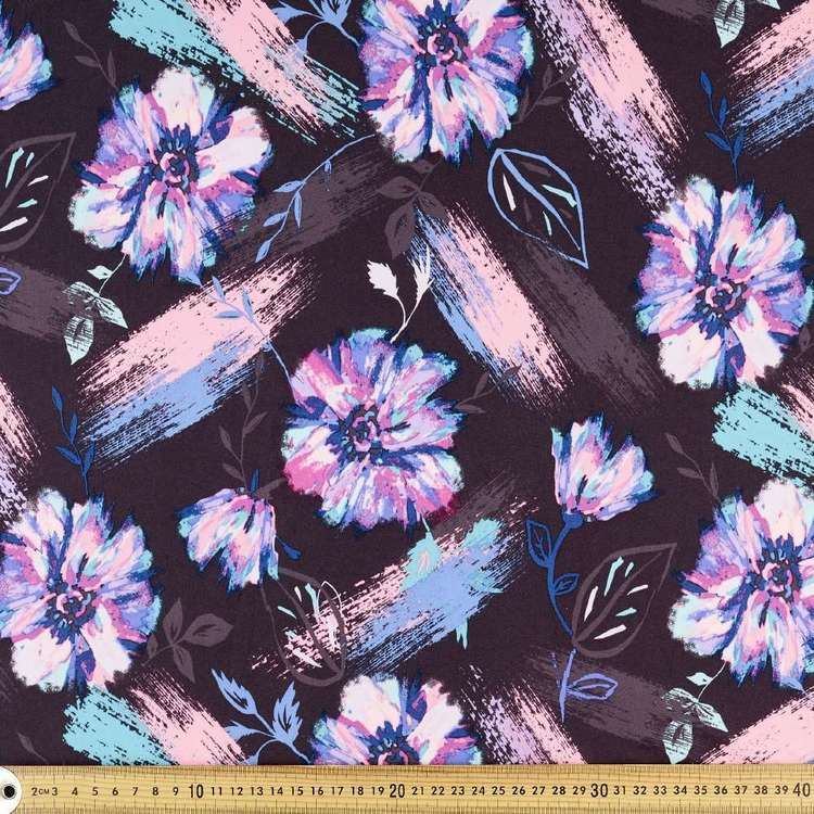 Brush Floral Printed Power Hold Stretch Knit Fabric Black 148 cm