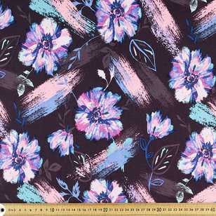 Brush Floral Printed Power Hold Stretch Knit Fabric