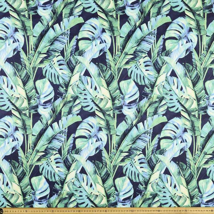 Monstera Printed Power Hold Stretch Knit Fabric Green 148 cm