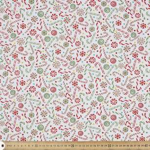 Studio E Holly Yuletide Cheer Candy Cane Cotton Fabric