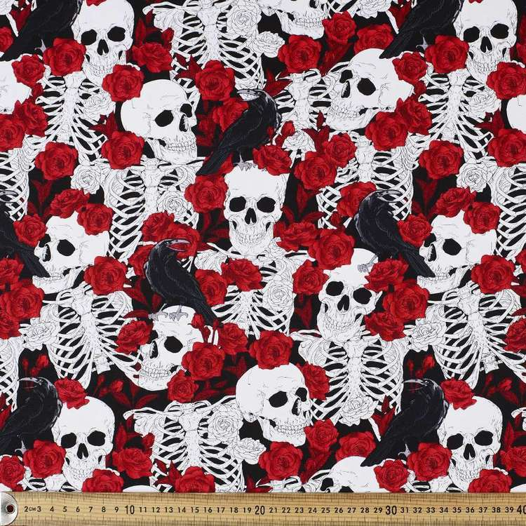 Rose Among Bones Printed Cotton Sateen Fabric Multicoloured 148 cm