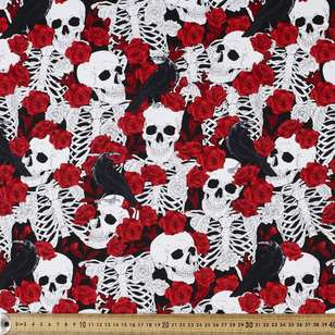 Rose Among Bones Printed Cotton Sateen Fabric