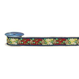 Mystical Eclipse Embroidered Floral Mirror Trim
