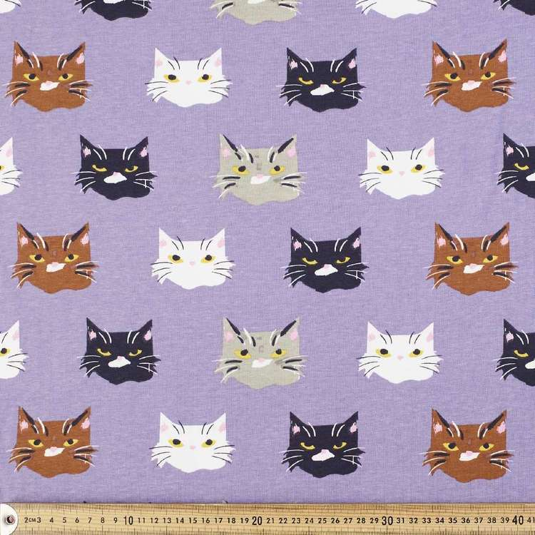 Cat Faces Printed Comb Cotton Jersey Fabric