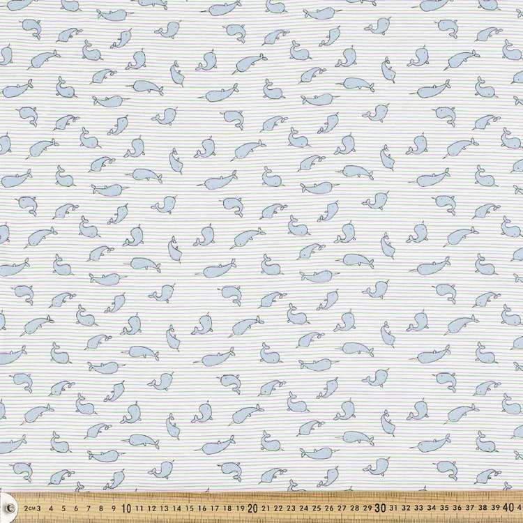 Narwhal Printed Combed Cotton Jersey Fabric