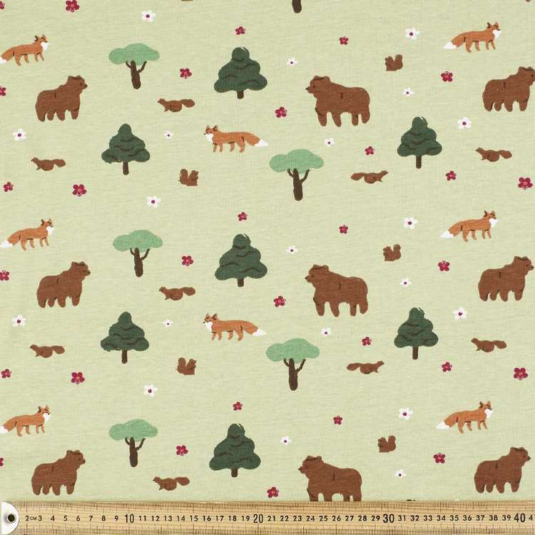 Woodland Printed Comb Cotton Jersey Fabric