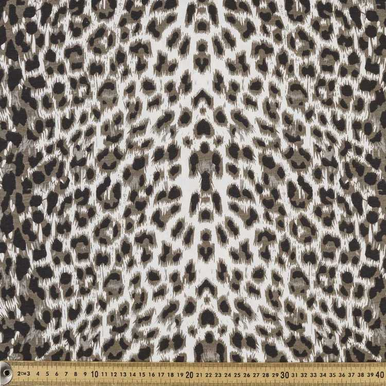Snow Leopard Printed Comb Cotton Jersey Fabric