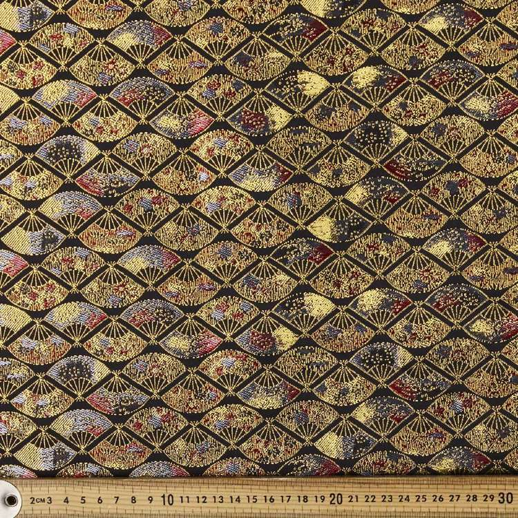 Fan Florals Printed Brocade Fabric