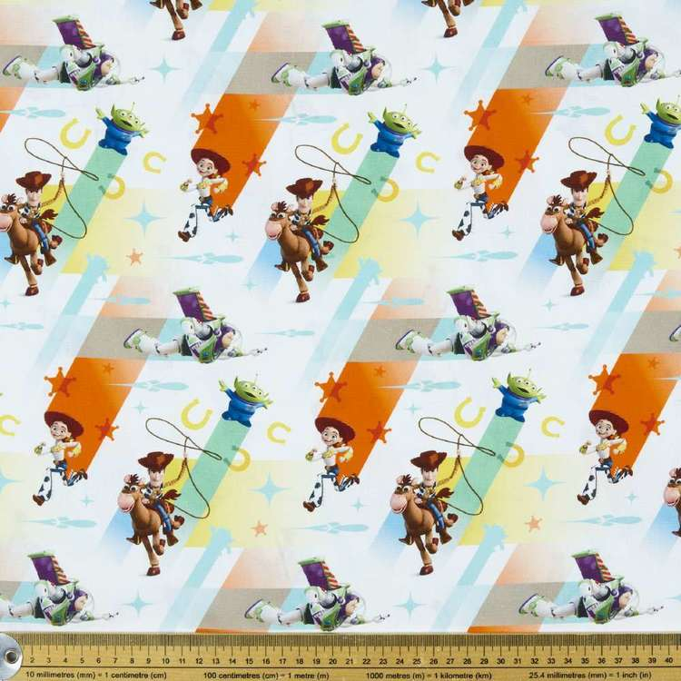 Disney Toy Story Characters Cotton Fabric White 112 cm