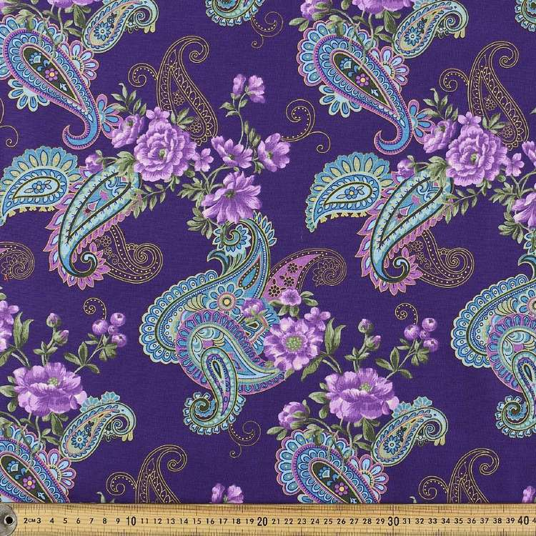 Large Paisley Floral Cotton Fabric