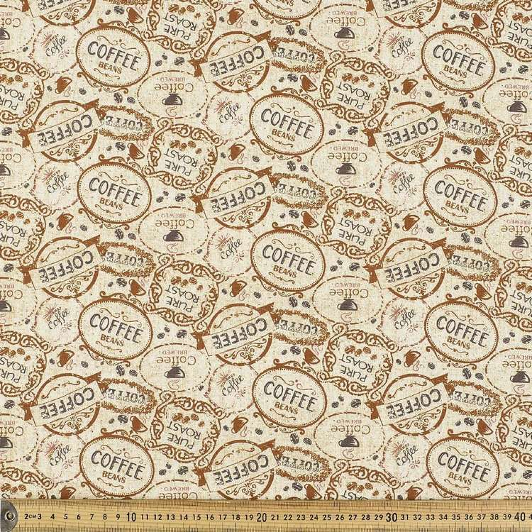 Coffee Words Allover Cotton Fabric