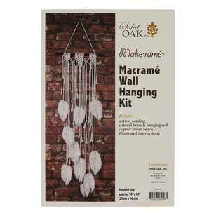 Solid Oak Feathers Macrame Wall Hanging Kit