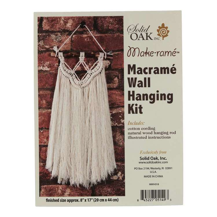 Solid Oak Fringe Macrame Wall Hanging Kit