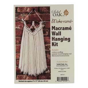 Solid Oak Fringe Macrame Wall Hanging Kit