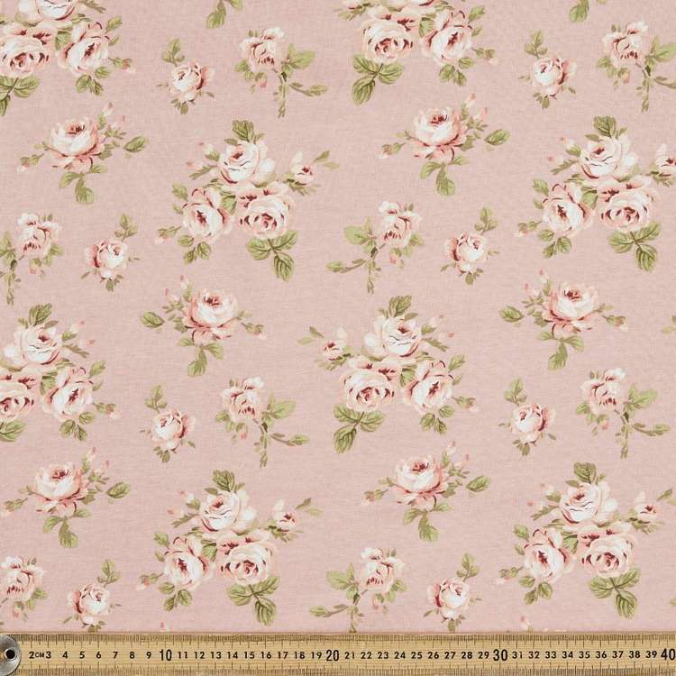 Blurred Rose Printed Organic Cotton Jersey Fabric