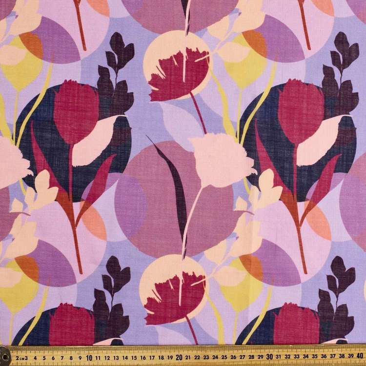 Arty Flower Printed Linen Look Polyester Fabric