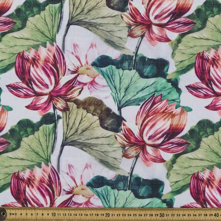 Lotus Printed Linen Look Polyester Fabric