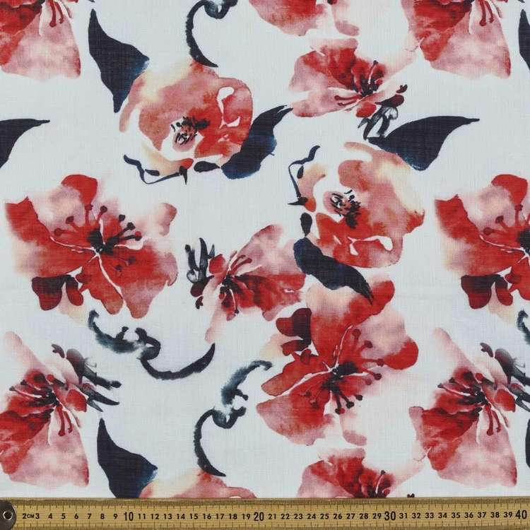 Bush Rose Printed Linen Look Polyester Fabric