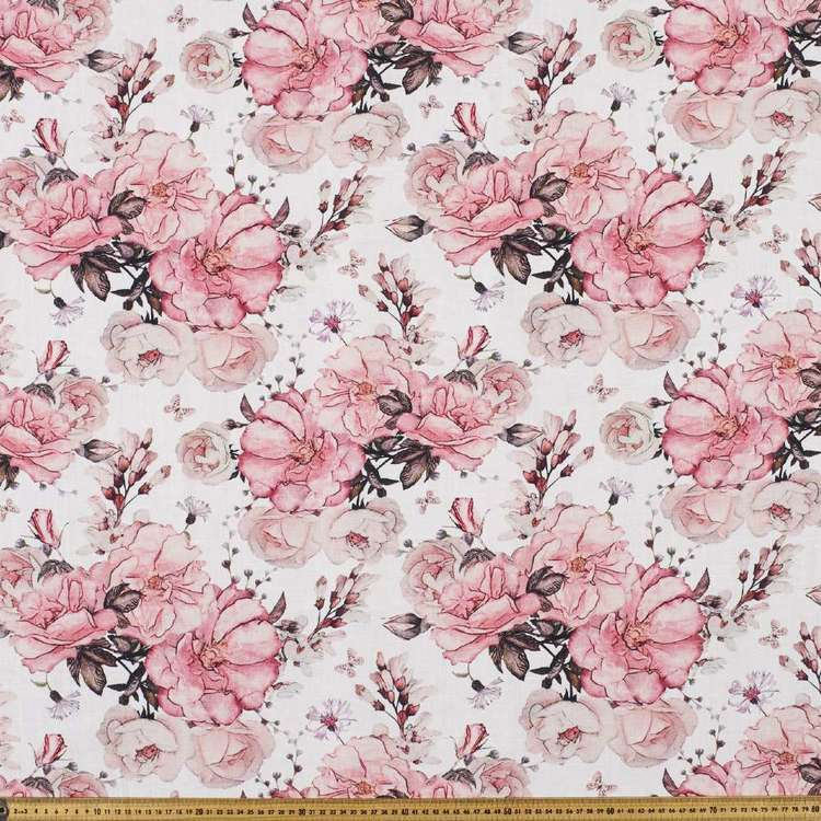 Hello Blossom Digital Printed Cotton Linen Fabirc