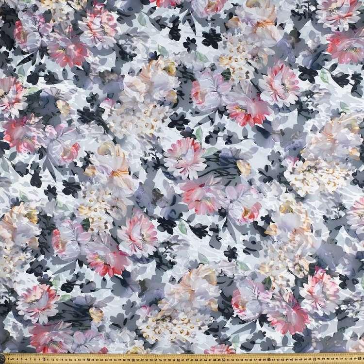Flower Printed Burnout Chiffon Fabric