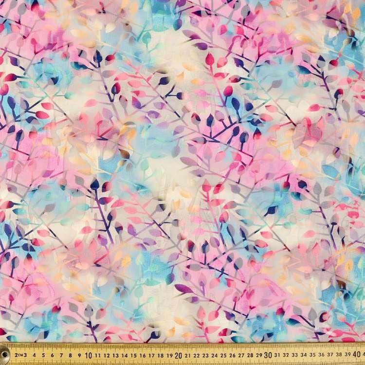 Bright Leaf Printed Burnout Chiffon Fabric