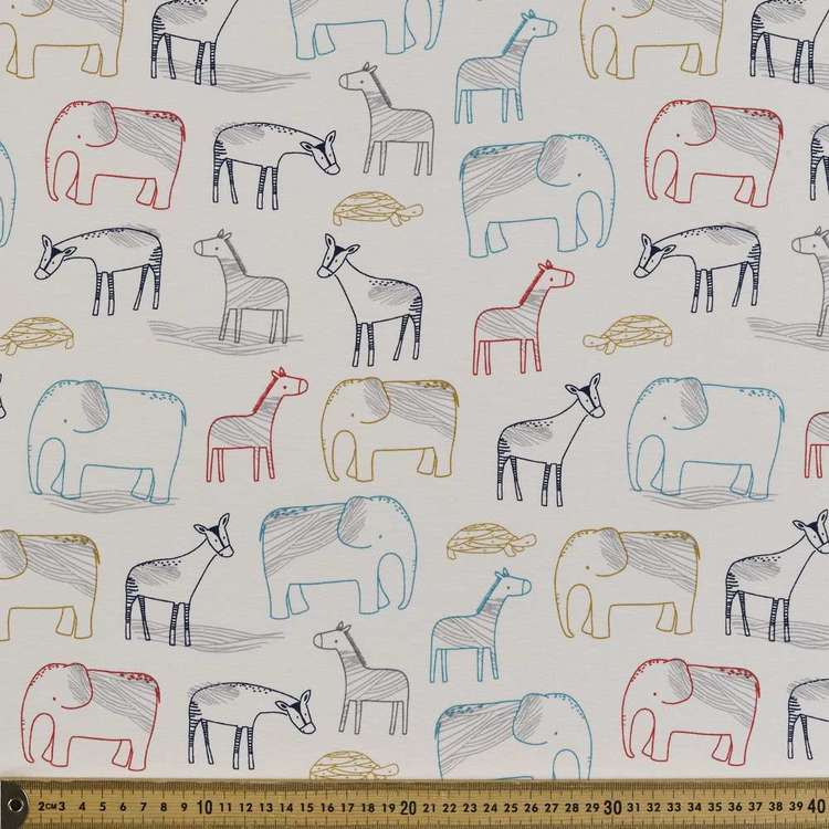 Zoo Printed Cotton Spandex Fabric