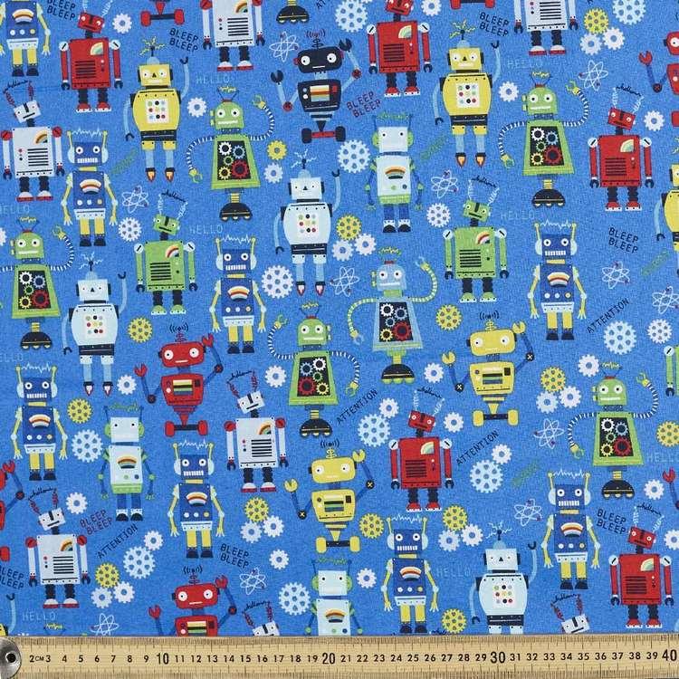 Robots Rule Cotton Fabric