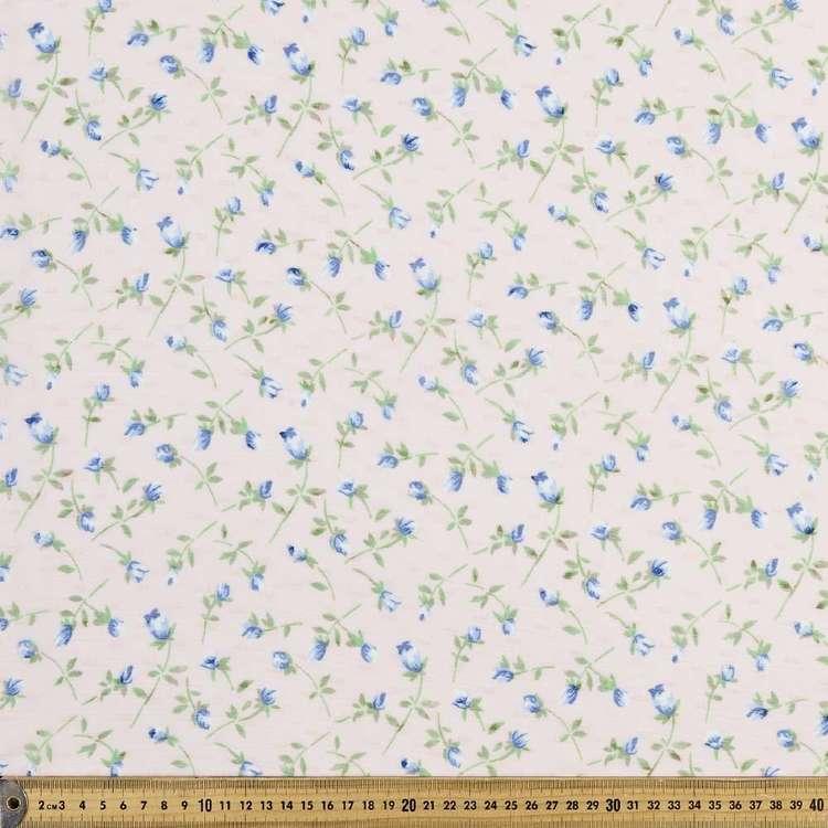 Blue Flower & Dot Printed Crinkle Chiffon Fabric