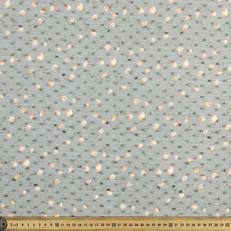 Flower & Dot Printed Crinkle Chiffon Fabric