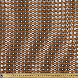Rust Tile Printed Moss Crepe Fabric