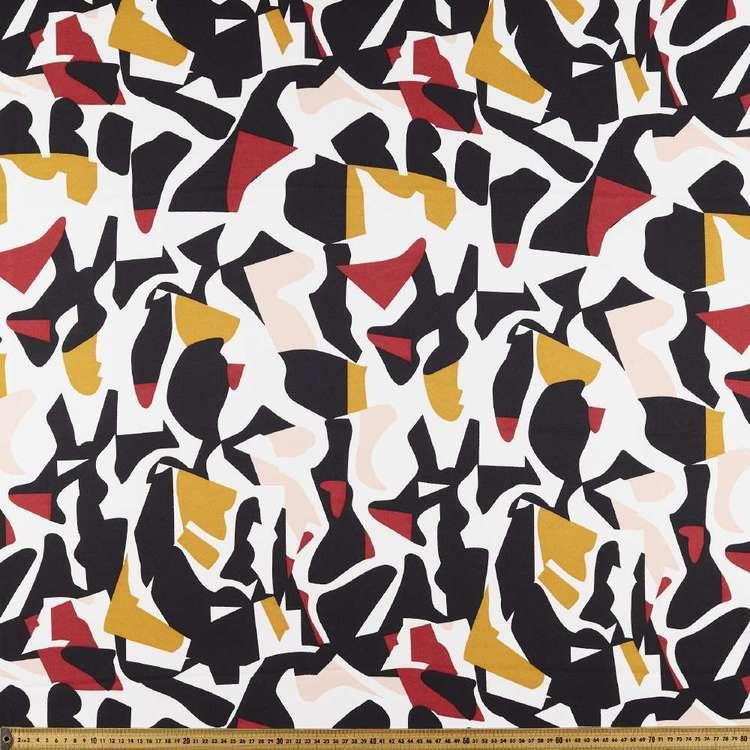 Rust Mustard Art Printed Moss Crepe Fabric