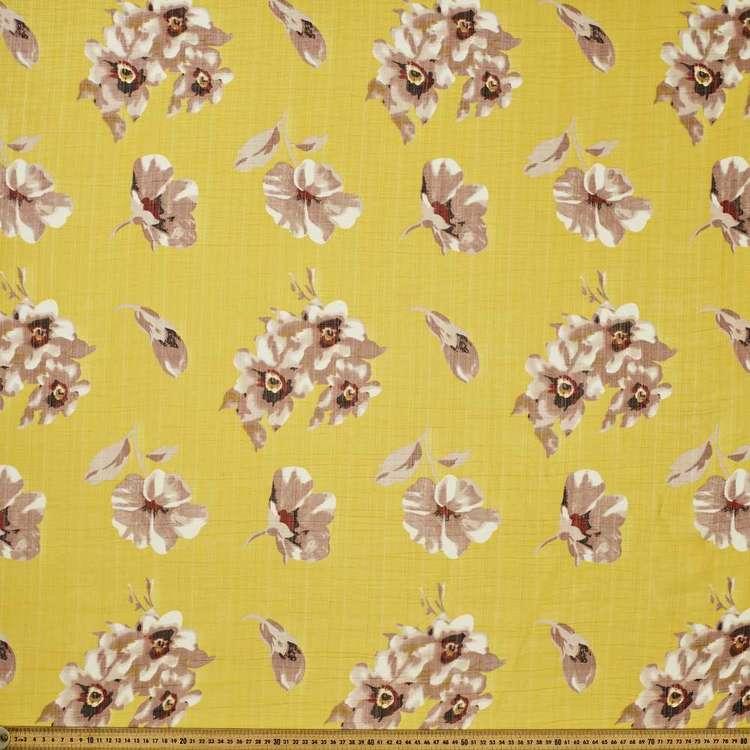 Flower Printed Slub Chiffon Fabric