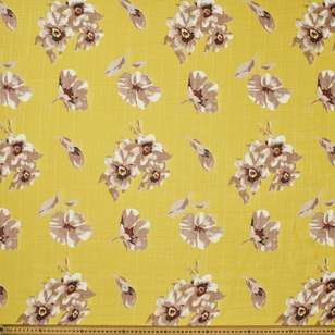 Flower Printed Slub Chiffon Fabric