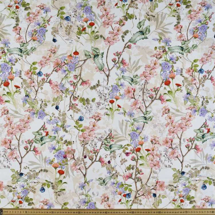 Pretty Garden Digital Printed Cotton Linen Fabric