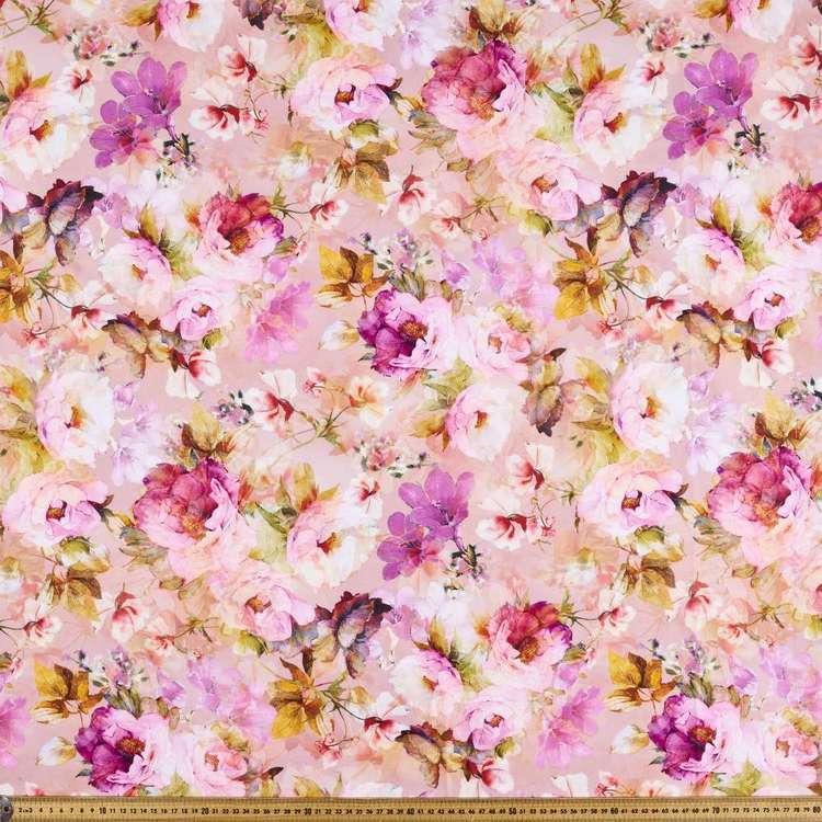 Watercolour Musk Digital Printed Cotton Linen Fabric