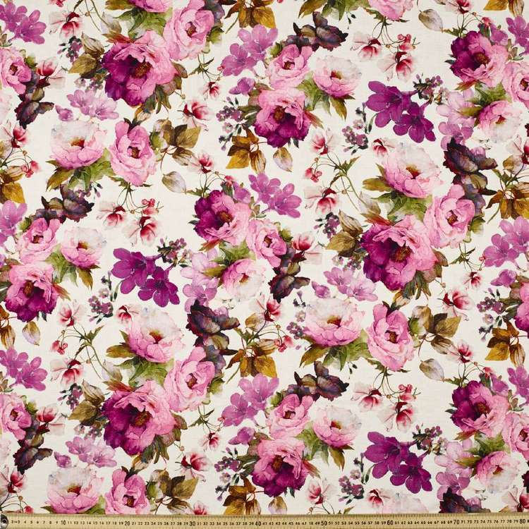 Art Floral Digital Printed Viscose Cotton Flax Blended Fabric
