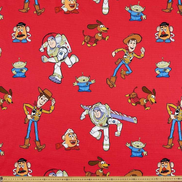Toy Story Characters Curtain Fabric Red 150 cm