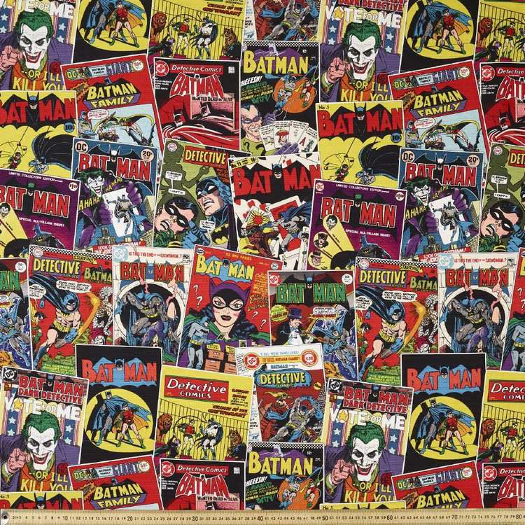 Batman 80th Birthday Comic Kids Curtain Fabric Multicoloured 150 cm