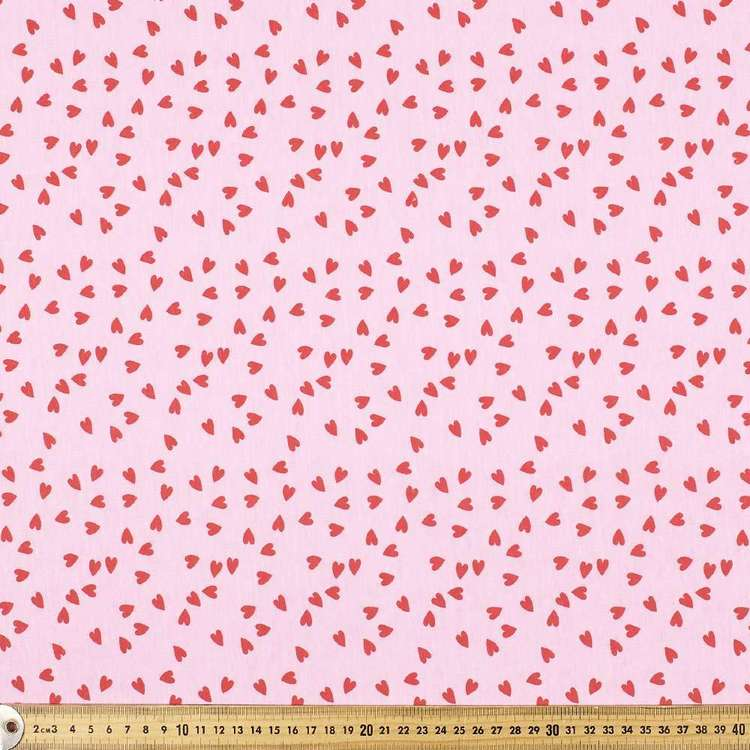 Scattered Hearts Printed Comb Cotton Jersey Fabric