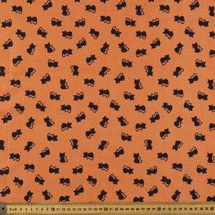 Halloween Black Cat Cotton Fabric