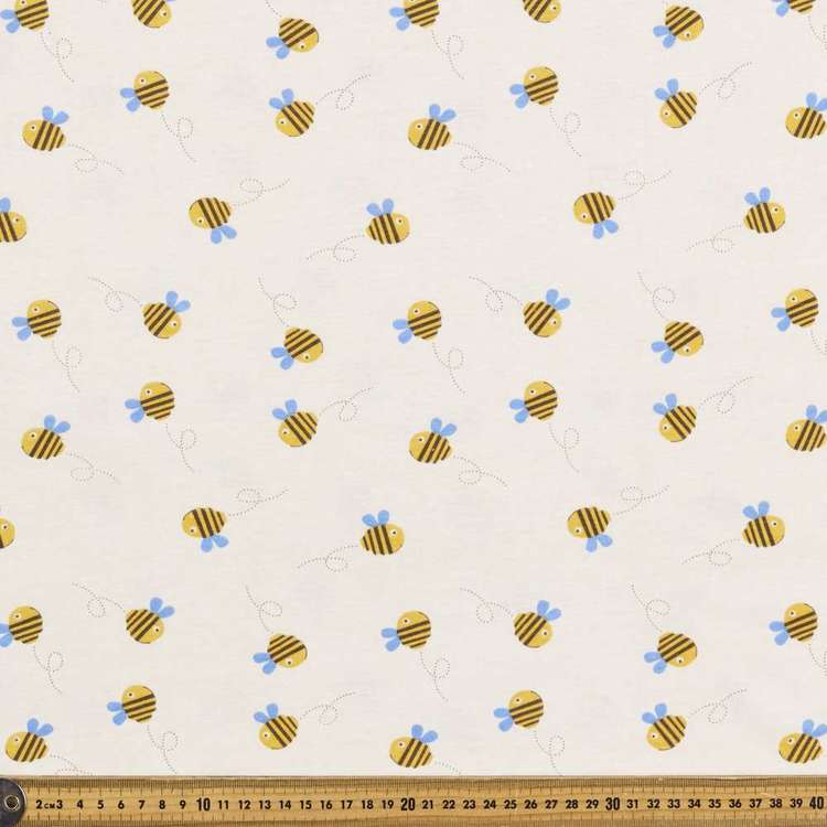 Bee Printed Combed Cotton Jersey Fabric