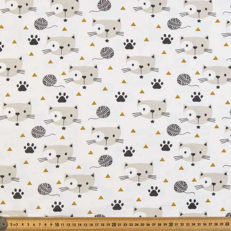 Cat Printed Combed Cotton Jersey Fabric