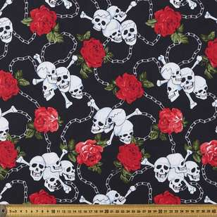 Halloween Skulls & Roses Cotton Fabric