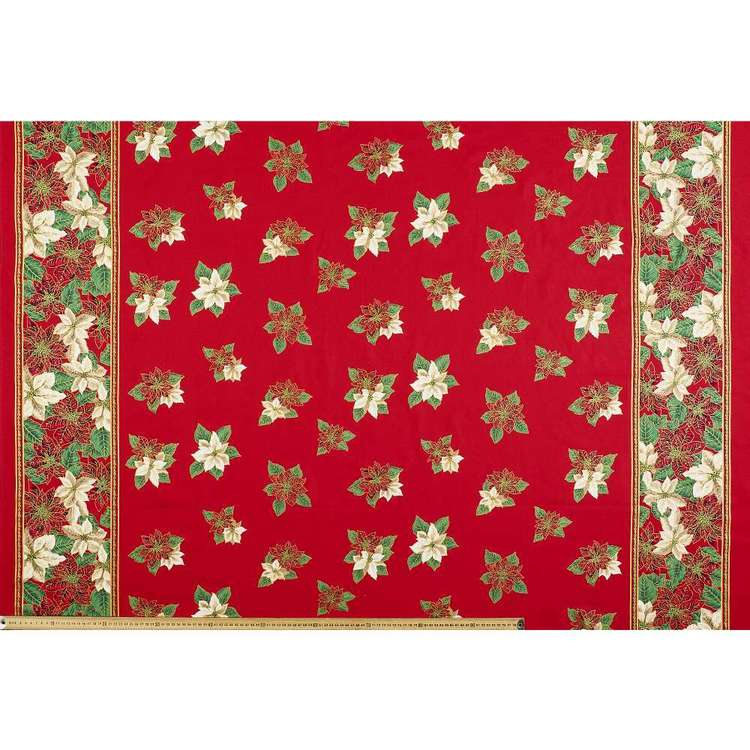 Poinsettia Christmas Tablecloth Fabric