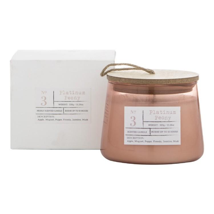 Amalfi Platinum Peony Scented Candle Jar