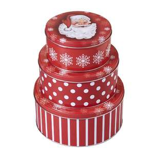 Living Space Festive Round Tin Set 3 Pack