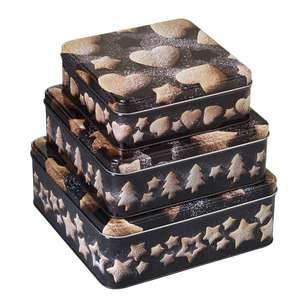 Living Space Festive Square Tin Set 3 Pack